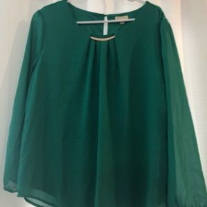 Kelley green blouse with gold detail